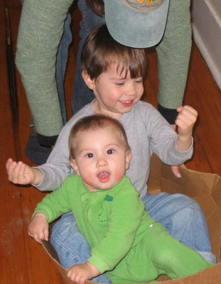 Kids playing in box
