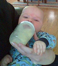 Owen with the bottle