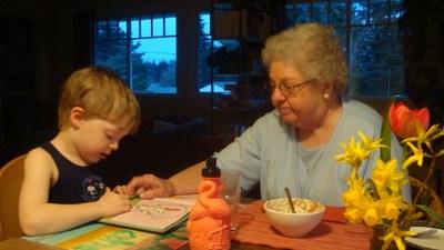 Grandmawithhergrandsonreading
