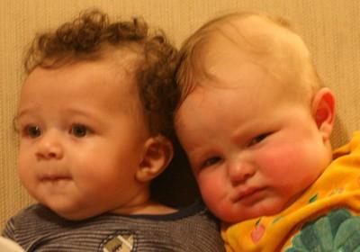Two Babies on Sofa