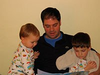 Chris with sons 2005